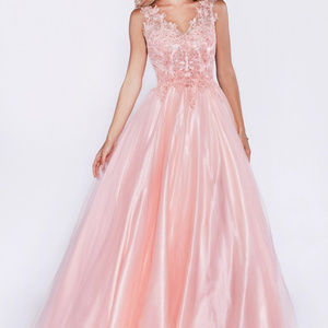 Mauve V-Neckline Prom Long Dress